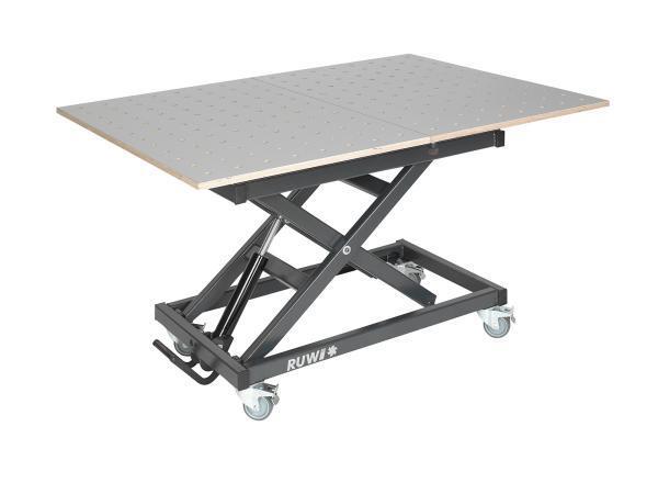 RUWI Hubtisch / Scherenhubtisch mit HPL Schwenk-Lochrasterplatte, Schubkasten und Stauraum